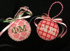Your sorority girl is going to love these! Sorority, Needlepoint, Panda, Christmas Ornaments, Decoration, Holiday Decor, Diy, Xmas Ornaments, Decorating