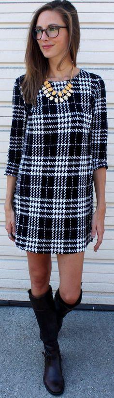 Black And White Tartan Mini Dress