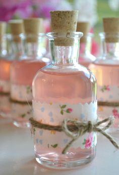 Mini DIY cork bottle favor - Adorable vintage floral decanter perfect for wine, pink lemonade or homemade vodka. via Etsy. Candy Wedding Favors, Wedding Favor Boxes, Party Favors, Favour Boxes, Baby Shower Songs, Baby Shower Favors, Wine Bottle Corks, Wedding Bottles, Wedding Songs