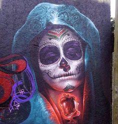 Great artwork by @rodriguezdrako #portrait #girl #mujer #dead #drawing #painting #sprayart #spraypaint #mural #wallart #arteurbano #streetart #graphicdesign #contemporaryart #graffiti #design #awesome #mexico