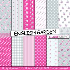 Buy Shabby Chic Digital Paper ENGLISH GARDEN With Roses Polka Dots