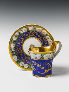 KPM (Berlin,Germany) — Cup and Saucer with rose decor, c.1805 (1300x1733)