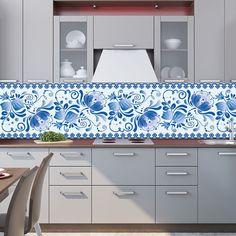 Kitchen Backsplash: wallpaper – Gzhel