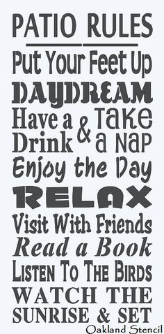 """Primitive STENCIL **Patio Rules** Large 12""""x24"""" for Painting Signs, Airbrush, Crafts, Wall Art and Primitive Decor"""