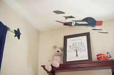 Vintage Airplane Nursery Theme with a Red and Navy Color Palette