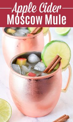 Treat yourself to a refreshing Apple Cider Moscow Mule ... it's the perfect Fall Cocktail! Learn how to make the BEST Apple Cider Mule using simple ingredients: Cider, Lime Juice, Vodka, and sparkling Ginger Beer. This Spiked Easy Apple Cider Cocktail recipe is a fun Moscow Mule Variation with warm seasonal flavors that can be made by the glass or pitcher / for a crowd. Serve this cozy Apple Cider Drink with alcohol for Halloween, Thanksgiving, or any autumn occasion! | Hello Little Home