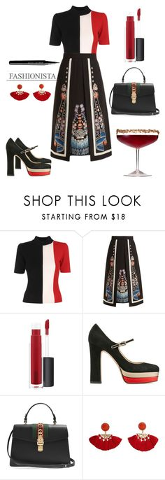 """""""Just a drink"""" by miruna-catea ❤ liked on Polyvore featuring Solace, Temperley London, John Lewis, Valentino, Gucci and MANGO"""