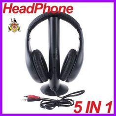 Wireless Headphone 5 in 1 Hi-Fi Headset for FM,TV / PC / Radio / DVD