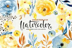 Watercolor flowers, branches, leaves By WatercolorFlowers