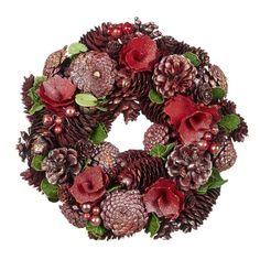 Coronita de Craciun Flower/Pinecone 26 cm - Bordo/Verde Pine Cone Crafts, Pinecone, Christmas Wreaths, Holiday Decor, Flowers, Home Decor, Christmas, Pineapple, Decoration Home