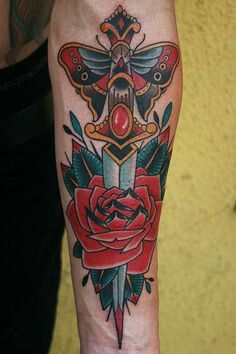 dagger and rose color tattoo