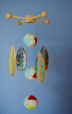 OMG!!!!!! BABY BROWN needs this for his room at Grammas!!! Beach Time Mobile with Plush Beach Balls and Wood by outofthebox, $70.00