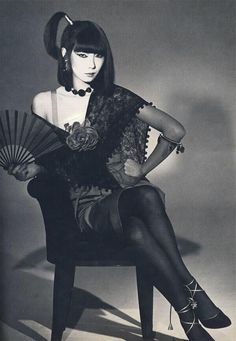 Sayoko Yamaguchi (山口 小夜子), rendered perhaps too far into the realm of unreachable, exoticized Other, from the spring Yves Saint Laurent Rive gauche collection, Yamaguchi, Geisha, Yves Saint Laurent, Fashion Art, Fashion Models, Vintage Fashion, Japanese Models, Japanese Girl, Christian Dior