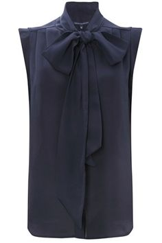 SUB SILKY TIE TOP  $118.00  #French #Connection lightweight tie-neck top is a soft drape style that simply exudes sophistication. Wear with slim-fit tailored trousers and sky-high stilettos for an elegant silhouette.    Sub Silky Tie Top has a pussy-bow tie at neck, covered button placket through front and small cap sleeves. This top is demi-sheer.