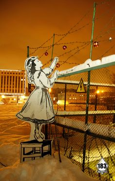 One of the many prolific pieces by the late Russian street artist P183