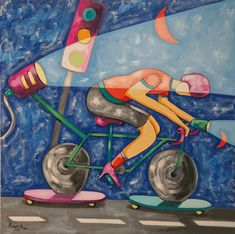 IL CICLISTA, Un ciclista corre su un monopattino... Opera, Painting, Art, Opera House, Painting Art, Paintings, Painted Canvas, Drawings