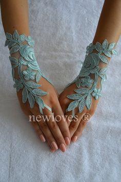 mint green Wedding Glove Fingerless Glove High by newgloves