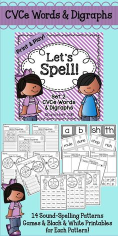 Here's a set of easy-prep printables and activities to support spelling fluency with long vowels (CVCe) and digraphs.  Five activities each for 14 sound-spelling patterns!  Fun games for centers and partner work!  There's even a fun whole-class game!
