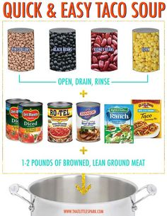 Quick And Easy Taco Soup! Quick And Easy Taco Soup! Taco soup by Aunt R. I also add hominy, creamed corn, and Monterey Jack Cheese right into the soup.<br> Quick And Easy Taco Soup! Fall Recipes, New Recipes, Crockpot Recipes, Cooking Recipes, Favorite Recipes, Taco Soup Recipes, 8 Can Taco Soup, 8 Can Soup, Recipies