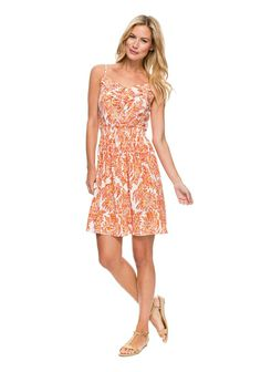 J. McLaughlin Bliss Silk Dress in Paisley $285  A summer dress of two minds. Delicate spaghetti straps, a slightly blousy silhouette and a bright floral print epitomize the season's light-hearted spirit, while elegant silk charmeuse and a touch of ruffle give it RSVP-worthy credibility.