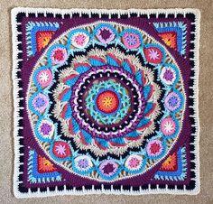 Ravelry: Mandala Experiment Trial Pattern pattern by Justdunny Crochet Mandala Pattern, Granny Square Crochet Pattern, Crochet Granny, Crochet Doilies, Crochet Stitches, Crochet Patterns, Crochet Squares Afghan, Crochet Blocks, Granny Squares