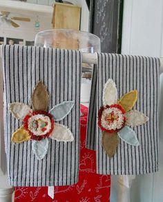 Girl Next Door Soaps & Sundries  Linen Applique Hand Towels