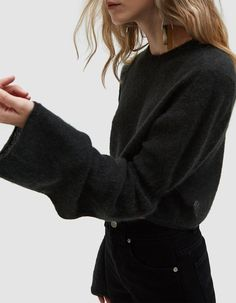 Lightweight sweater from Lemaire in Anthracite. Crew neckline. Exaggerated long sleeves with elasticated ribbing at elbows. Ribbed trim. Cropped. Boxy silhouette. • Mohair Knit • 35% mohair, 35% alpaca, 30% polyamide • Dry Clean • Made in Italy