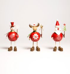 Retro Santa, Snowman and Rudolph Christmas decorations Sass & Belle x 3  #SassBelle