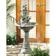 One of our best-selling water fountains!  This garden fountain conjures up memories of Roman courtyards or Italian esplanades.  Water cascades over playful cher