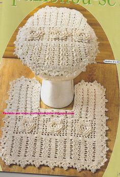 Rose Ragazzon Crochê: Jogo de Banheiro Quadrado Cru - Flores e Leques