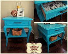 Refreshed end table painted in Behr Larkspur Blue! Love the paper drawer liner! www.crossroadcreations.ca