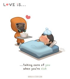HJ-Story Love is. taking care of you when you're sick - HJ-Story Love Cartoon Couple, Cute Couple Comics, Cute Love Cartoons, Anime Love Couple, Cute Comics, Cute Cartoon, Cartoon Love Pictures, Hj Story, Cute Love Stories