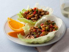 Recipe of the Day: Rachael's Barbecued Chinese Chicken Lettuce Wraps Fill crisp lettuce with stir-fried chicken and shiitake mushrooms in hoisin sauce with ginger, garlic and orange zest for a 5-star, easy to eat meal.