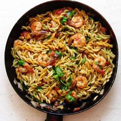 """""""A quick pasta with shrimp dish for a busy day. Ready in 15 minutes!"""" This was so ridiculously easy and fast. I also added two stalks of celery, mushrooms and some extra Tabasco for a bit more of a kick. I will definitely make this again."""