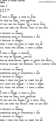 Song Lyrics with guitar chords for I Have A Dream Song Lyrics with guitar chords for I Have A Dream Hallelujah Ukulele Chords, Guitar Chords And Lyrics, Pop Sheet Music, Violin Sheet Music, Music Sheets, Ukulele Songs, Piano Songs, Ukulele Instrument, Song Lyrics Rock