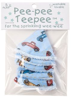 Changing diapers can get a little wet when you have a boy, so use these adorable little truck teepees to stay dry. Pack of 5, machine washable