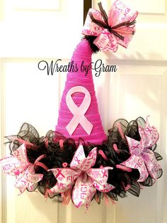 Breast Cancer Awareness Ideas; Breast Cancer Awareness Decorations; Breast Cancer Awareness Wreath; Save the Boobies Gift Ideas; Breast Cancer Awareness Witch Hat; Cancer Awareness Ribbon; Breast Cancer Awareness Month; Witch Hat Wreath; Halloween Wreath; Halloween Decorations