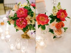 Blush Botanicals coral charm peonies galore!  vintage gold urn with garden inspired centerpiece of peonies, garden roses and other like florals photo by Bryan Miller Photography