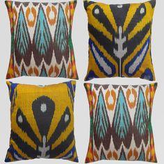 Set of 4 Uzbek Ikat pillow covers, 16x15 - Both sides ikat