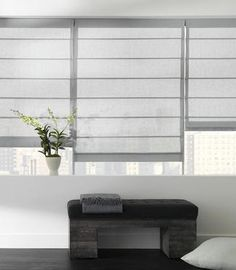 Sheer linen Roman blinds