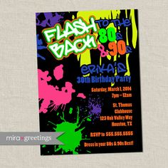 80s Birthday Party Invitations  90s Neon Party by miragreetings