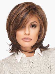 Brown Hair Wigs 2019 Women Layered Shoulder Length Synthetic Wigs Milan Long L. Synthetic Hair Extensions, Synthetic Wigs, Extensions Hair, Short Hair With Layers, Short Hair Cuts, Medium Hair Styles, Curly Hair Styles, Bob Hairstyles, Haircuts