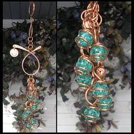 Teal Hand Stamped Copper and Glass Gypsy Wind Chimes / Windchime Garden Art Suncatcher