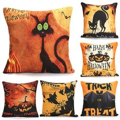 45cmx45cm 6 Pattern Halloween Fashion Cotton Linen Pillow Case Home Sofa Cushion…