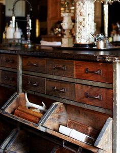 Garage work bench serves as a kitchen island. I like the way the bottom drawers open. Design Industrial, Industrial Chic, Industrial Storage, Antique Furniture, Home Furniture, Rustic Furniture, Modern Furniture, Outdoor Furniture, Western Furniture