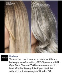 Redken Shades EQ and Silver blonde hair. Redken Shades EQ and Chrome and Opal Glow Honey Blonde Hair, Blonde Hair With Highlights, Platinum Blonde Hair, Blonde Balayage, Blonde Hair Toner, Guy Tang Blonde, Toning Blonde Hair, Toner Für Blondes Haar, Redken Hair Color