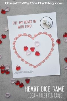 Not only is this Fill My Heart Up With Love Dice Game great for keeping young children busy but it's also quick & inexpensive for mamas to put together Teacher Valentine, Valentine Theme, Valentine Day Love, Valentines Day Party, Valentines For Kids, Valentine Day Crafts, Valentines Day Activities, Games For Toddlers, Dice Games