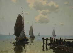 Egnatius Ydema  1876-1937,  Returning fishing boats by the harbour entrance of Hindeloopen