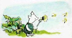 Piglet was sitting on the ground at the door of his house blowing happily at a dandelion - Winnie-the-Pooh, 1926