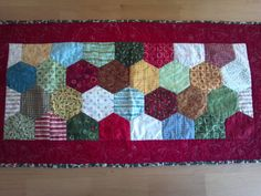 Christmas Table Runner hexagons  REVERSIBLE by EyeCandyQuilts, $30.00
